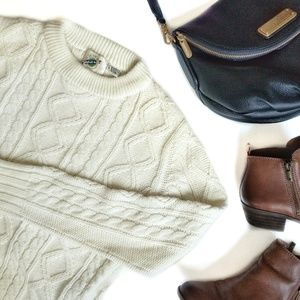 Vintage Cream Cable Knit Fisherman Sweater Small